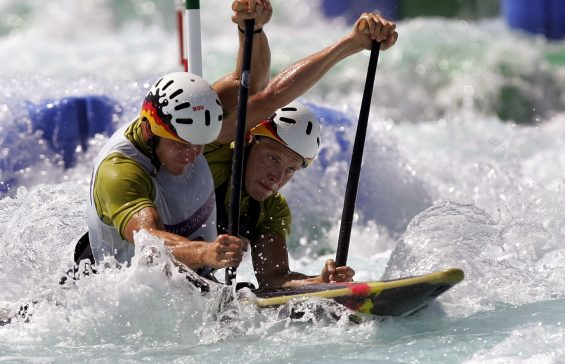 Germany's Marcus Becker and Stefan Henze compete in the Canoe double during a training session at the Hellinikon Olympic complex in Athens 14 August 2004.  AFP PHOTO / Aris MESSINIS / AFP PHOTO / ARIS MESSINIS
