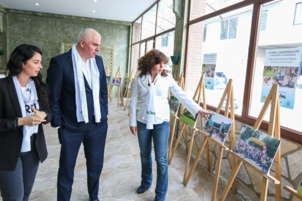 Deputy Minister Shalva Gogoladze at the exhibition dedicated to April 6